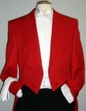 Toastmaster tails, Savile Row grade fabric, red cloth buttons , last 2 garments 40 reg & 46 reg