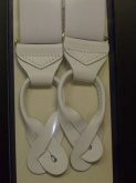 Braces, robust quality for good support wide width white elastic leather thongs for buttons .